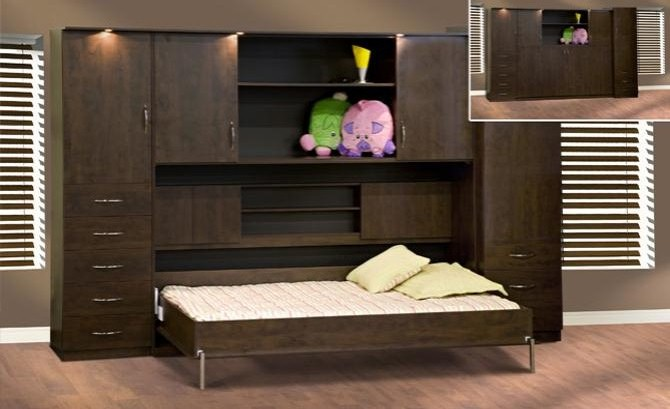Murphy bed with horizontal hutch ameublement beaubien for Meuble beaubien