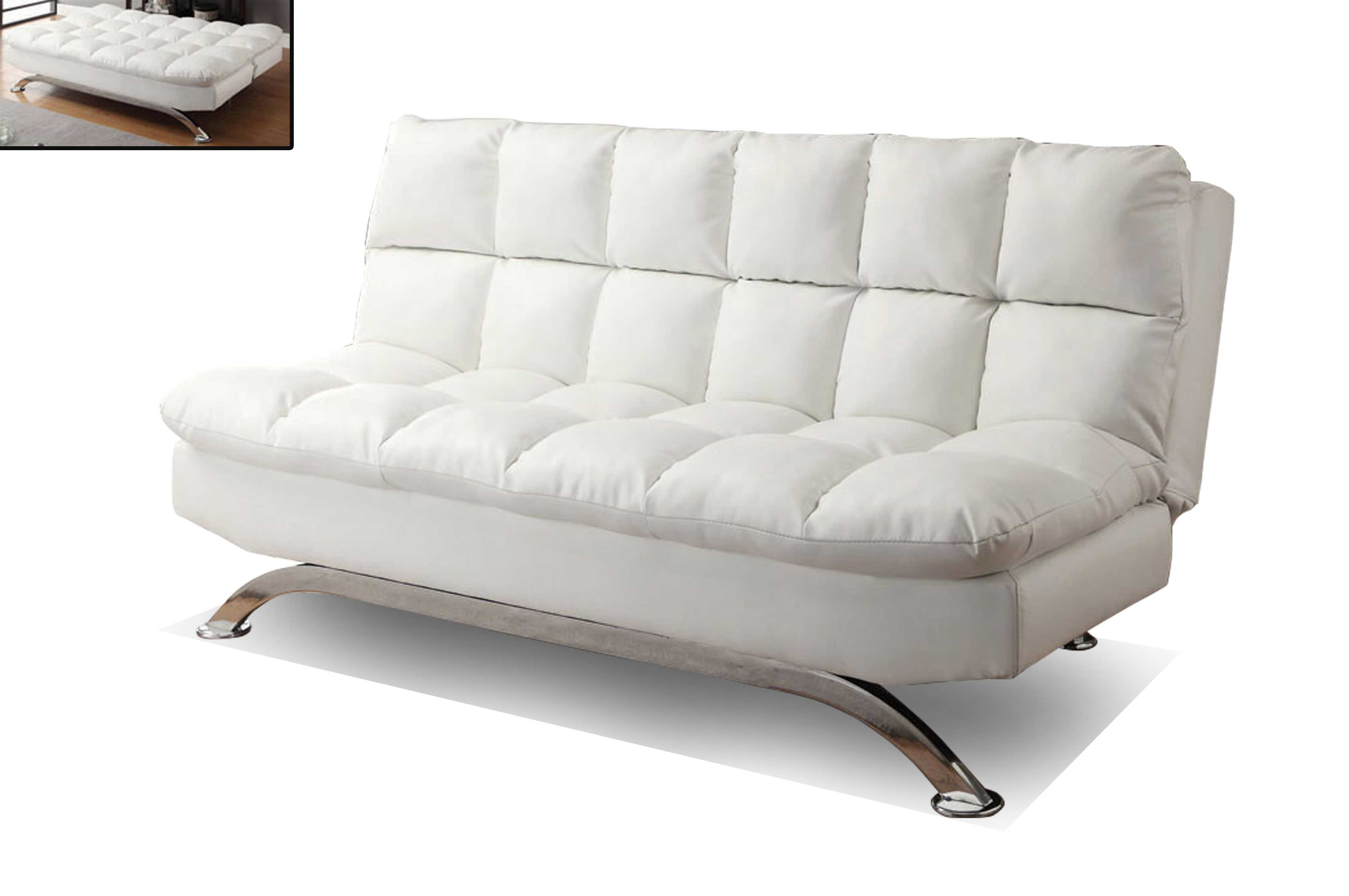 Klik klak sofa bed white ameublement beaubien magasin for Sofa lit cuir