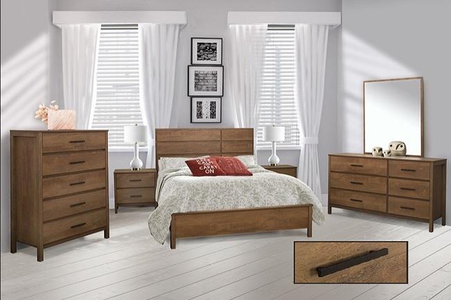 8 Pc Queen Bedroom Furniture Rustic Wood Finition Ameublement Beaubien Magasin De Meubles A Montreal