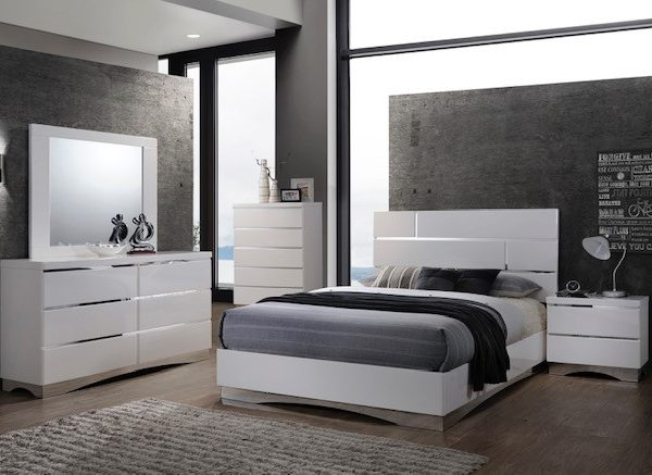 8 PieceS Queen White Glossy Bedroom Furniture
