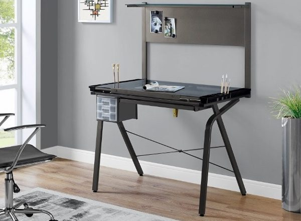 Table A Dessin Ajustable Metal Gris Verre Trempe Ameublement Beaubien Magasin De Meubles A Montreal