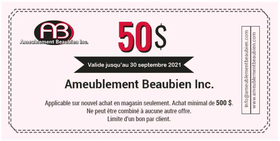 Ameublement Beaubien coupon 50$