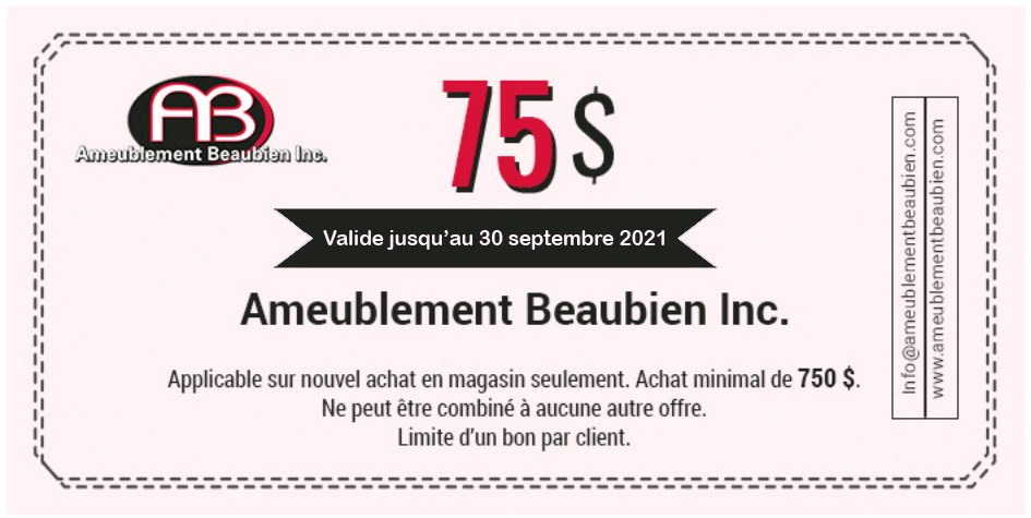 Ameublement Beaubien coupon 75$